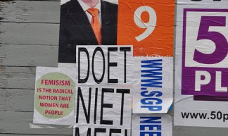 Dutch parliamentary elections 2012 – SGP election poster defaced - Michiel2005