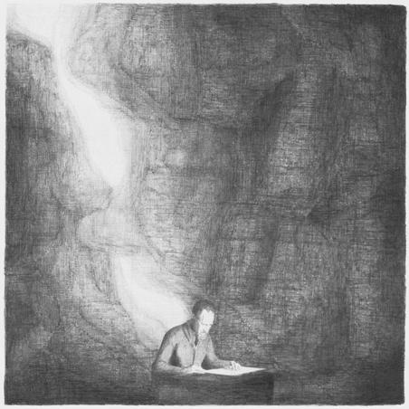 © Florette Dijkstra Een schrijver werkt, potlood op papier, 50 x 50 cm, 2009
