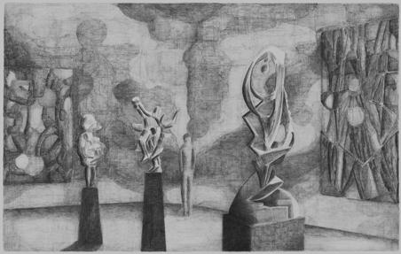 © Florette Dijkstra Tentoonstelling van abstracte kunst, potlood op papier, 50 x 75 cm, 2008