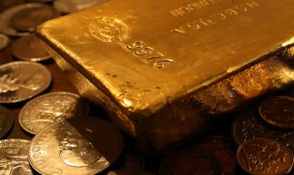 Gold Bar with Reflected Coins - Bullion Vault