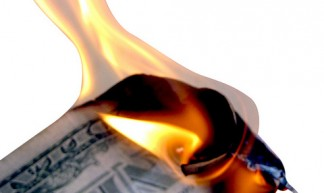 Burning Money Isolated on White - Images Money