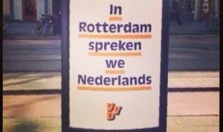 Griezelige #VVD campagneposter is onbedoeld grappig. Ik vind het ook moeilijk te geloven dat Rotterdams Nederlands is. Niet dan? - lijn