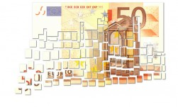 Cut Fifty Euro Note - Floating Away in Small Pieces - € -
