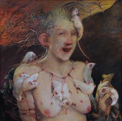 © Olga Wiese Mevrouw Staartjes, Oil on Canvas