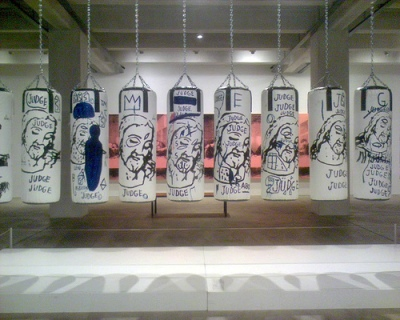 cc Flickr brandon schauer photostream punching bags by jean michael baptiste and andy warhol, at the Warhol Museum