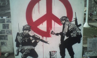 Banksy art at Parliament Sq 2 - Owen