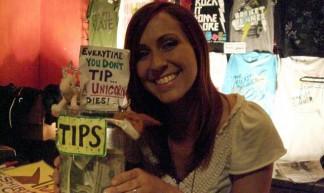 Tara and her home made Tip Jar - Julia