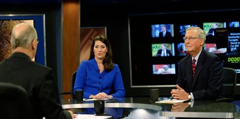 TV-debat in de Senaatsverkiezingen in Kentucky tussenLundergan Grimes en McConnell