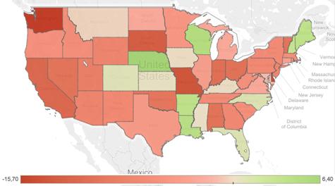Procentuele verschillen in opkomst tussen de Midterms 2010 en 2014