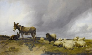 Cooper, Thomas Sidney 'Donkeys with a flock of sheep on heathland' 1870 - Plum leaves
