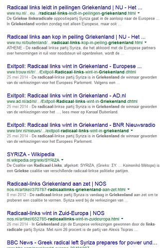 <strong>Figuur 2</strong><em> De topresultaten van de zoekopdracht 'radicaal links Griekenland' op Google laat zien dat Syriza door iedereen met 'radicaal links' wordt aangeduid.</em>