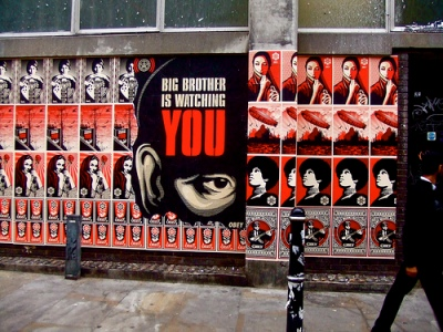 cc Flickr tim rich and lesley katon photostream Shepard Fairey in London Big Brother Is Watching YOU