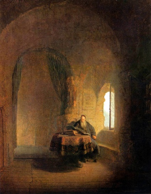 cc Flickr Plum leaves photostream  Rembrandt Philosopher Reading 1631 Oil on wood