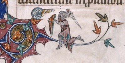cc Britisch Library Knight v Snail Battle in the Margins (from the Gorleston Psalter, England (Suffolk), 1310-1324, Add MS 49622, f. 193v.