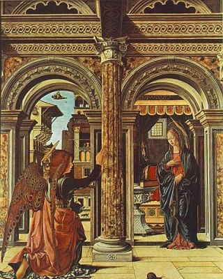 cc commons.wikimedia.org Francesco del Cossa - Annunciation and Nativity (Altarpiece of Observation)