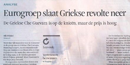 Figuur 1 Scan van de voorpagina het Financieel Dagblad waarmee de krant opende op 14 juli nadat, in de woorden van het FD, 'Alexis Tsipras getemd' was.