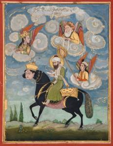Mohammed berijdt Buraq, India, 18e eeuw