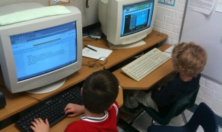 Working on the computer in Maria Knee's kindergarten classroom - Wesley Fryer