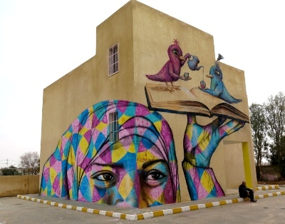 © joelartista.com blog-2 Jordan 2015 Mural on a school in Za'atari Village