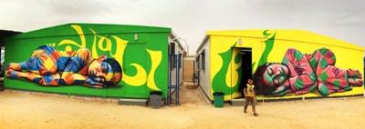 © joelartista.com blog-2 Za'atari Syrian Refugee Camp 2014 I dream of… full mural