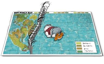 © new world map by Rafat Al-khateeb