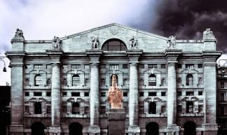 Palazzo Mezzanotte. Piazza Affari, Milano. Borsa Italiana. Stock Exchange in Milan, Italy. Dito medio di Cattelan. - Paolo Margari