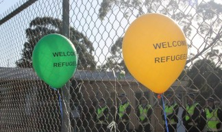 Police guard inside the fence - Refugee Rights Protest at Broadmeadows, Melbourne - Takver