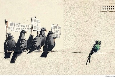 cc Flickr Paul Townsend photostream A satirical take on immigration involving birds on a wire by renowned artist Banksy