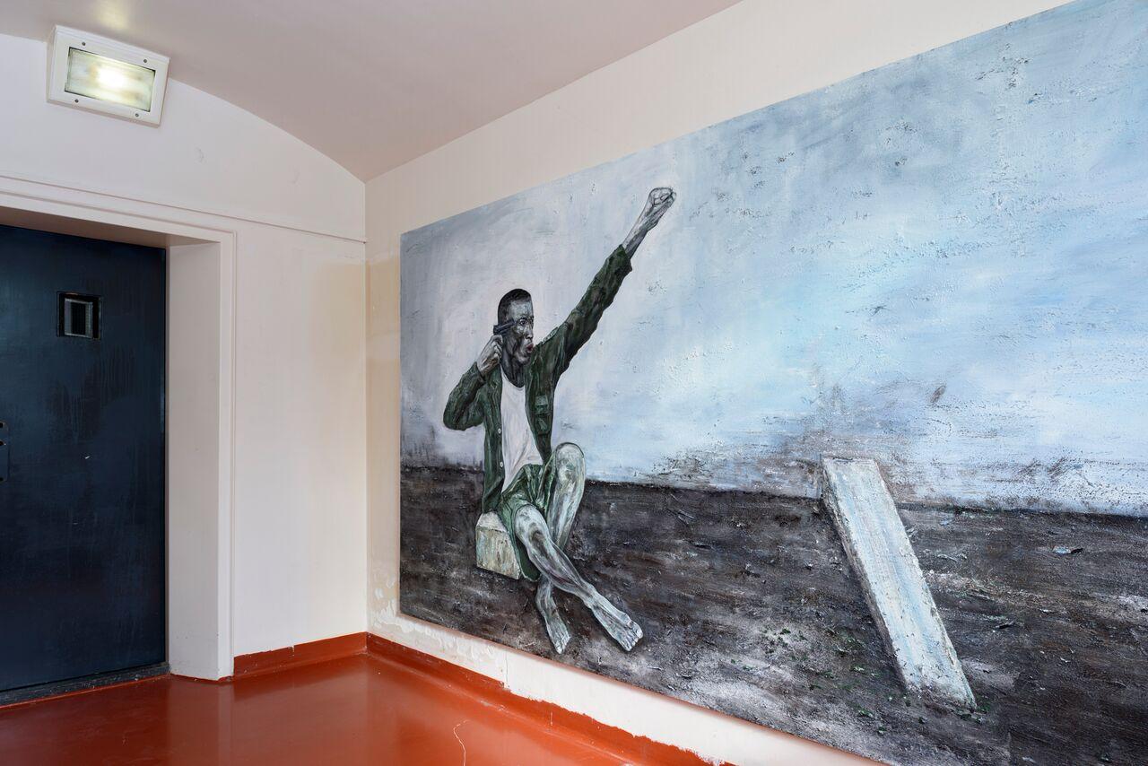 © Ronald Ophuis, Rebel soldier committing Suicide, Egypte 2013, olieverf op linnen, 210 x 260 cm, courtesy van Upstream Gallery, Amsterdam foto Gert Jan van Rooij