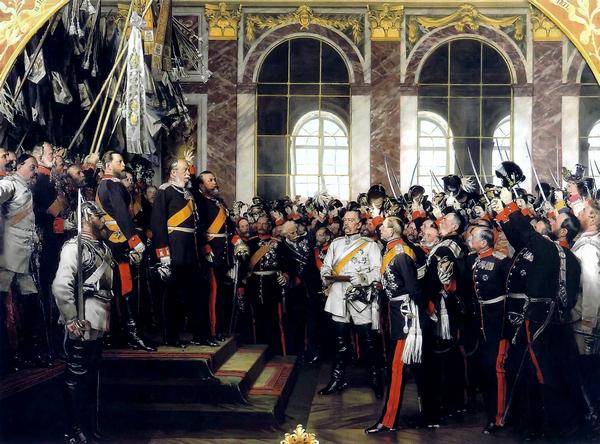 Wilhelm I uitgeroepen tot keizer in Duitsland in Versailles (schilderij van Anton von Werner)
