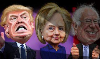 MSM spotlights Donald Trump vs. Hillary Clinton and Bernie Sanders - DonkeyHotey