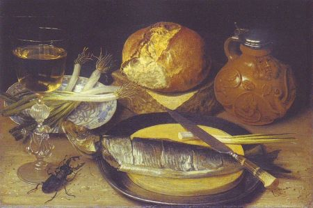 cc commons.wikimedia.org Flegel - Frühstücksbild mit Hering, Bartmannskrug und Hirschkäfer 1635