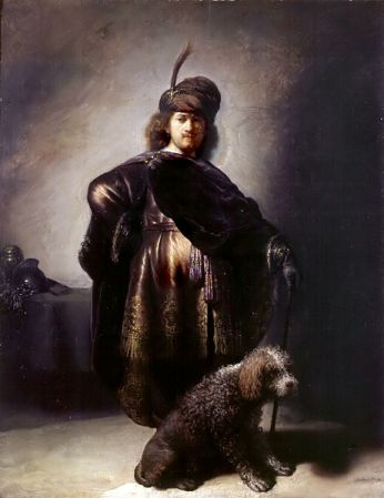 cc commons.wikimedia.org Selfportrait in oriental attire with poodle, Rembrandt van Rijn