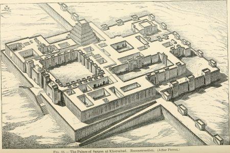 Reconstructie van het paleis van Sargon II. Wright, J.H. (1905): A history of all nations from the earliest times.