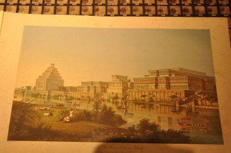 Reconstructie van de stad Nineveh volgens archeoloog Austen Henry Layard (1817-1894).