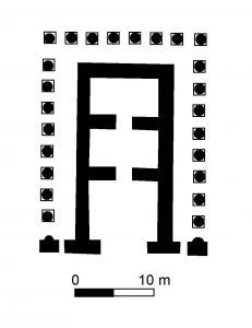 Plattegrond van een Parthische tempel in Ashur. Door Udimu (naar: Colledge, The Parthians, 126, fig. 32 (c)) [GFDL (http://www.gnu.org/copyleft/fdl.html), CC-BY-SA-3.0 (http://creativecommons.org/licenses/by-sa/3.0/) or CC BY 2.5 (http://creativecommons.org/licenses/by/2.5)], via Wikimedia Commons.