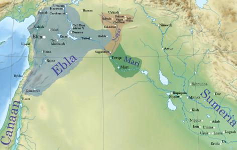 Oost-Semitische koninkrijkjes rond 2300 v. Chr. Bron: https://commons.wikimedia.org/wiki/File:Near_East_topographic_map-blank.svg Auteur: Sémhur