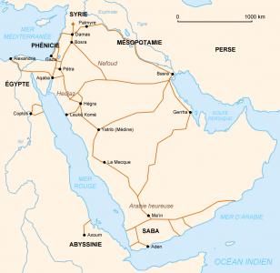 Arabische handelsroutes. Auteur: Like tears in rain (https://fr.wikipedia.org/wiki/Utilisateur:Like_tears_in_rain)