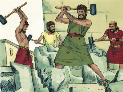 In opdracht van Hizkia worden godenbeelden stukgeslagen. Bron: http://www.freebibleimages.org/illustrations/hezekiah-assyrians/