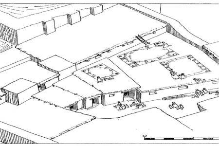 Al rond 700 v. Chr. werd het (waarschijnlijk) Ellipiaanse fort Baba-Jan verlaten, waarna (waarschijnlijk) Medische herders er hun intrek namen. Hierboven een reconstructie van Baba-Jan met de geïmproviseerde dunne muurtjes die de herders hadden aangebracht.
