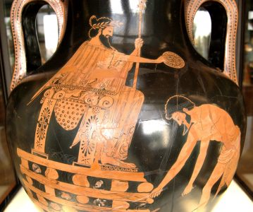 De Lydische koning Croesus wordt op een brandstapel geplaatst na te zijn verslagen door Cyrus. Roodfigurig Attisch amfoor uit Vulci (500-490 v. Chr.), nu in het Louvre, Parijs.