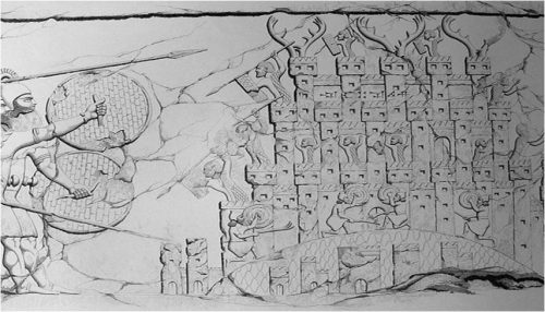 Assyriërs belegeren het (Medische?) fort Kishessim. Bron: http://www.ucl.ac.uk/sargon/essentials/countries/medes/