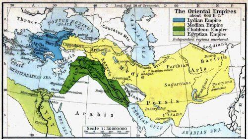 De belangrijkste grootmachten in het Nabije Oosten rond 600 v. Chr. Naar: Shepherd, W.R. 1923 'The Historical Atlas.' Het Medische Rijk is hier erg groot afgebeeld, in navolging van Herodotus' verslag.