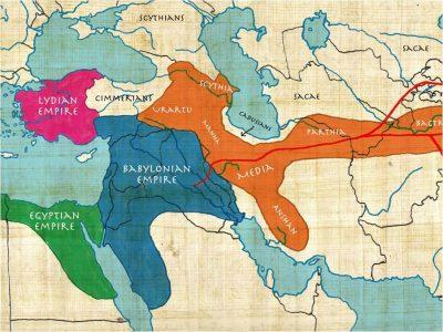 De belangrijkste grootmachten in het Nabije Oosten rond 550 v. Chr. Ditmaal is de omvang en samenstelling van het Medische Rijk aangepast aan moderne inzichten. Eigen werk.