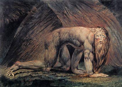 'Nebuchadnezzar' door William Blake. De verstandsverbijstering van Nebuchadnezzar, zoals beschreven in het bijbelboek Daniel, is waarschijnlijk gebaseerd op Perzische verhalen over Nabonidus' verblijf in de Arabische woestijn.