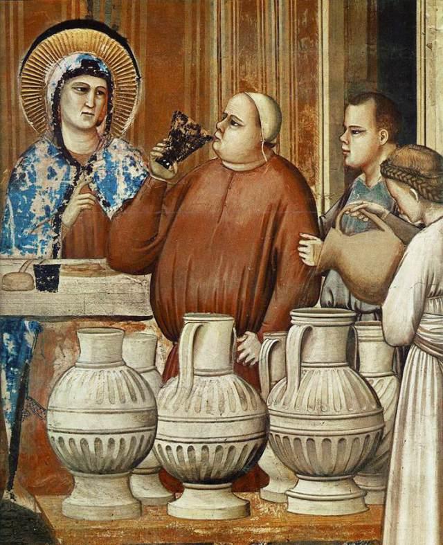 Giotto di Bondone (1267-1337): Bruiloft te Kana, fresco (omstreeks 1305); Scrovegni-kapel, Padova, Italië
