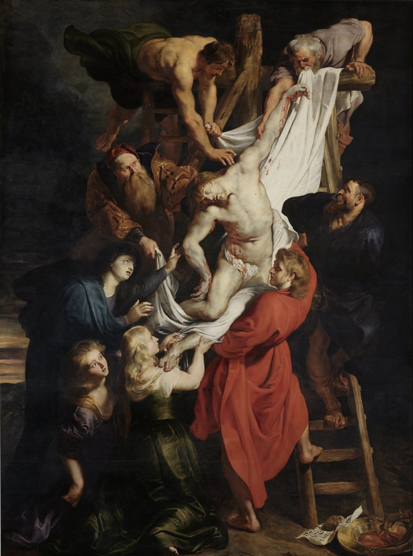 Peter Paul Rubens (1577 – 1640): Kruisafname – middenpaneel (1612 – 1614), olieverf op paneel (O.L. Vrouwekathedraal, Antwerpen)