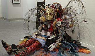 """Button,"" Chicken wire & mixed media sculpture by Sharon Carr - Ali Eminov"