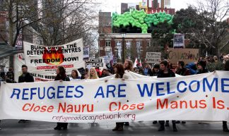 Refugees are welcome main banner - Refugee Action protest 27 July 2013 Melbourne - Takver