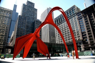 "cc Flickr (vincent desjardins) photostream Chicago (ILL) Alexander Calder, ""Flamingo"", 1974. Acier."